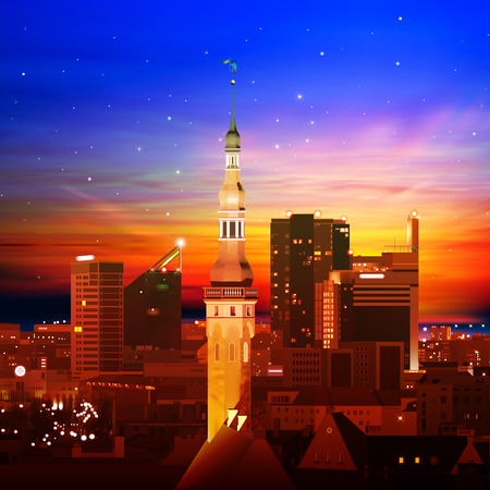 abstract background with Tallinn and golden sunset Vector