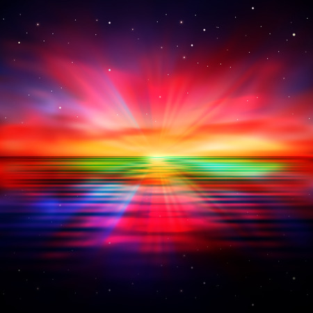 horizon over water: abstract nature background with clouds and red sunrise