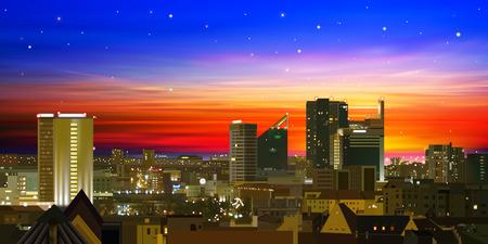 doğa arka: günbatımı ve şehir manzarası ile soyut doğa arka plan