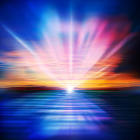 horizon over water: abstract nature blue background with clouds and sea sunrise