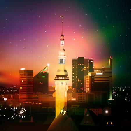 abstract night background with Tallinn and sunset Vector