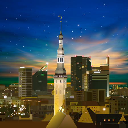 abstract night background with Tallinn stars and sunset Vector