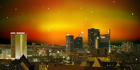 abstract nature brown background with city and sunset Vector