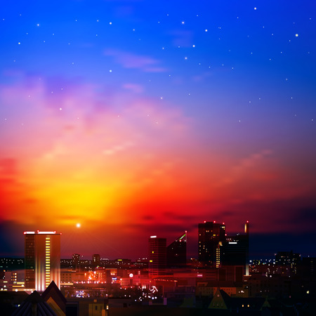 abstract nature background with city and red sunrise Vector