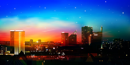 abstract nature blue background with city and red sunrise Vector
