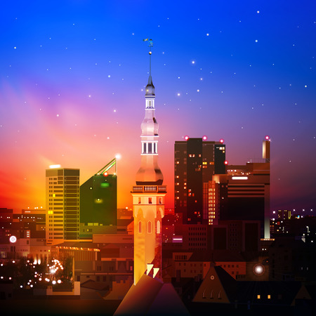 abstract night background with Tallinn and red sunset Vector