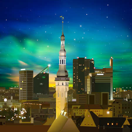 abstract night background with Tallinn stars and green sunset Vector