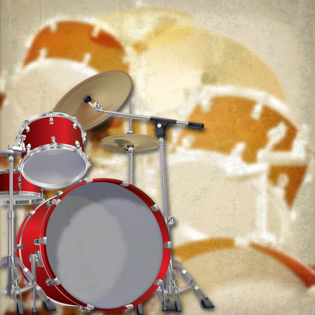 drum kit: abstract grunge background with red drum kit on brown