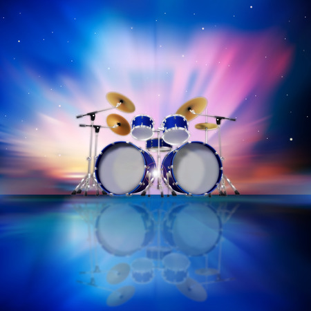 abstract music blue background with drum kit and sunrise