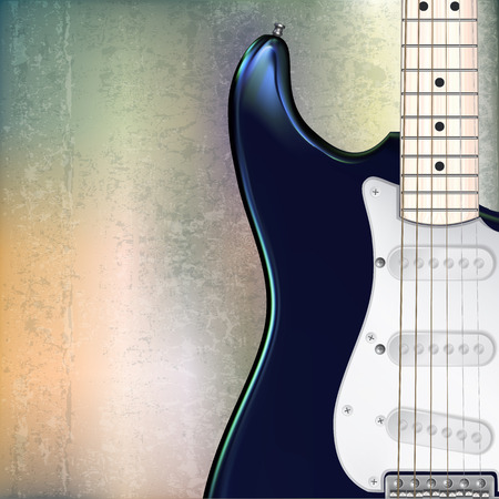 abstract grunge jazz rock background with blue electric guitar Vector