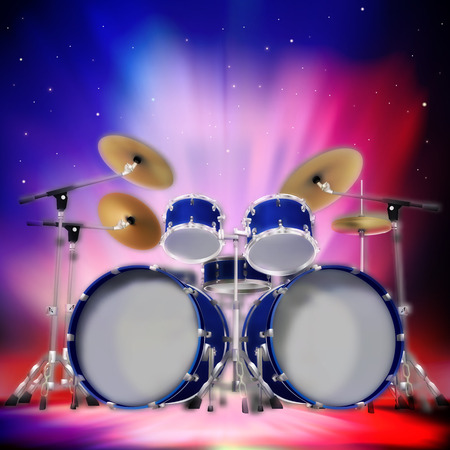 drum kit: Abstract music dark background with drum kit and stars