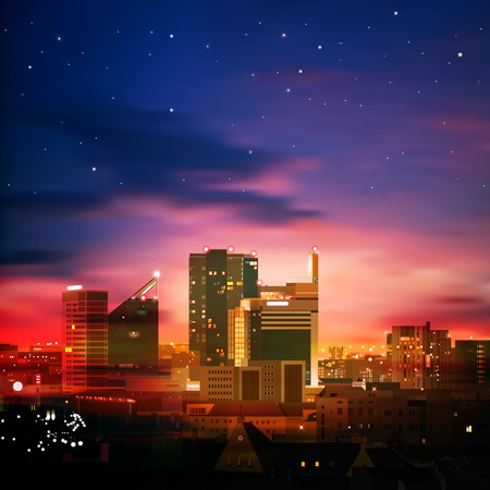 abstract nature background with city and blue sunset Vector