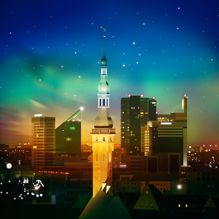 abstract night blue background with Tallinn stars and sunset Vector