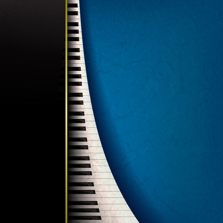 abstract grunge music background with piano keys on blue