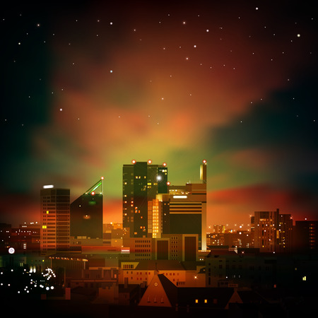 midtown: abstract nature dark green background with city and sunset