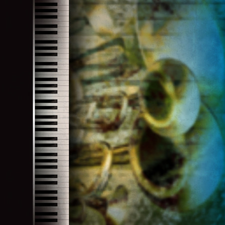 piano keys: abstract grunge music background with trumpets and piano Illustration