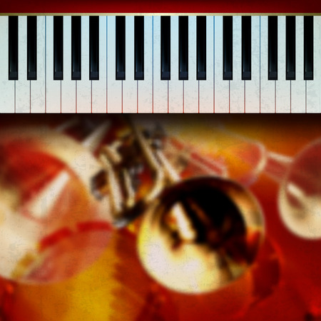 abstract grunge red background with trumpets and piano Vector