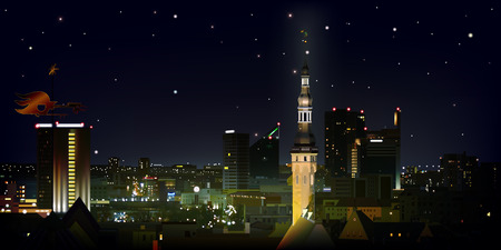 abstract black background with stars and cityscape of Tallinn Vector