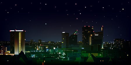 abstract nature black background with stars and cityscape Vector