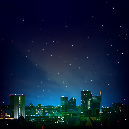 abstract night blue background with city and stars Vector