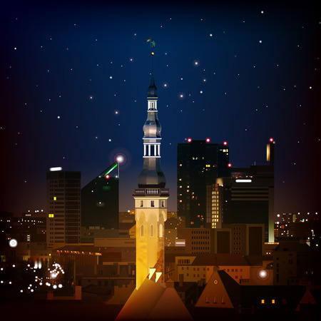 abstract dark blue background with Tallinn and stars Vector