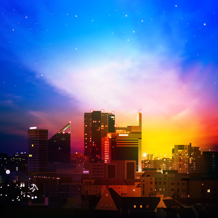 abstract nature background with city golden sunrise Vector
