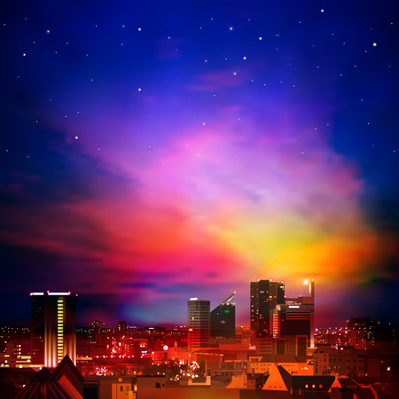 night life: abstract night background with city stars and clouds Illustration