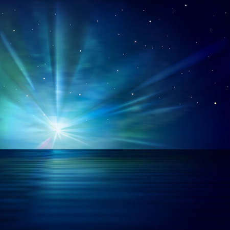 abstract blue background with clouds stars and ocean sunrise Illustration