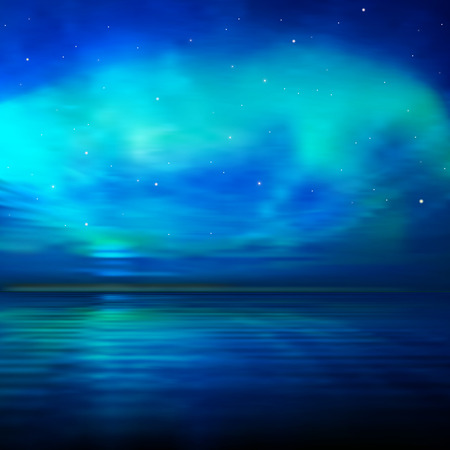 horizon over water: abstract blue nature background with ocean green sunset clouds and stars