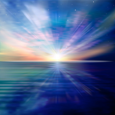 abstract blue nature background with ocean sunrise clouds and stars