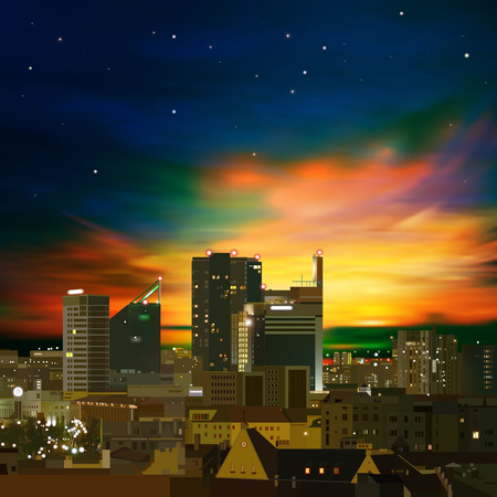 abstract nature green background with city and golden sunset Vector