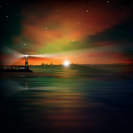 lighthouse at night: Fondo de la noche abstracta con la silueta de la ciudad y el faro Vectores