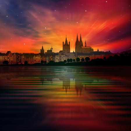 abstrakten Hintergrund mit roten Sonnenuntergang und die Silhouette von Köln