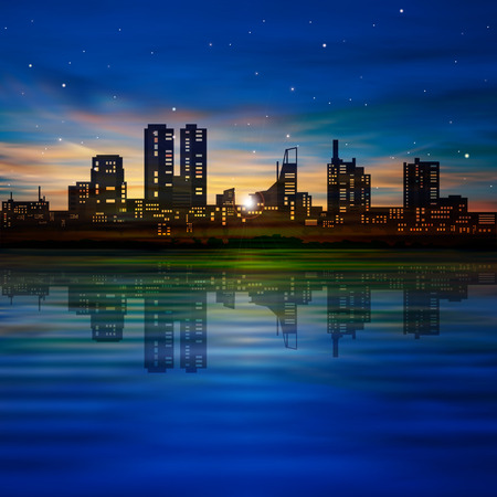 abstract blue background with silhouette of city and golden sunset Vector