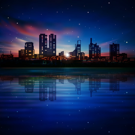 estonia: abstract dark blue background with silhouette of Tallinn and sunset