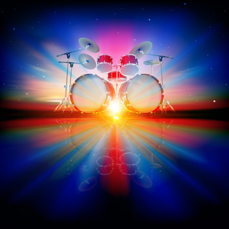 drum kit: abstract music background with drum kit and night sky Illustration