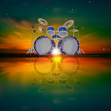 abstract music background with drum kit and dark sky Vector
