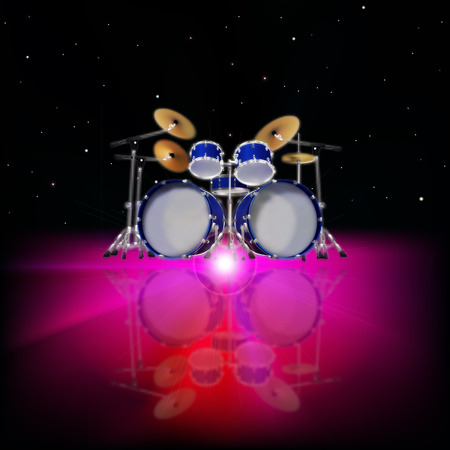 drum kit: abstract music background with drum kit and pink light