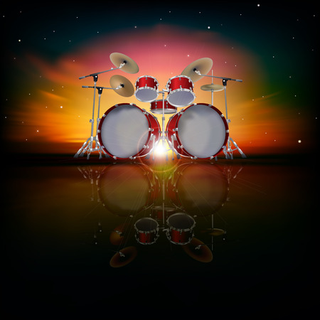 drum kit: abstract music background with drum kit and red sky