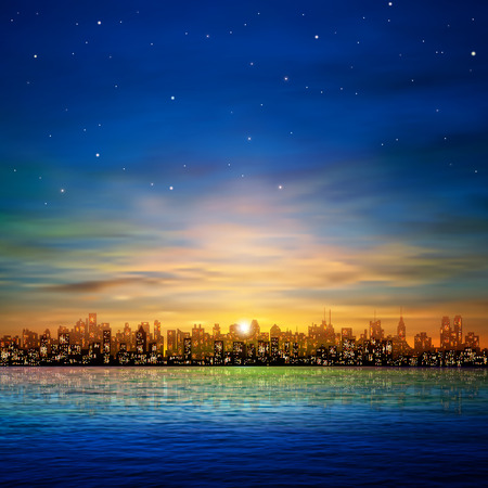 sky line: abstract nature background with panorama of city and golden clouds
