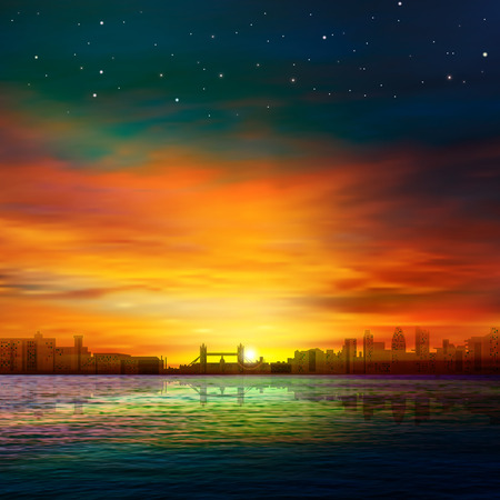 city by night: abstract background with panorama of London and golden sunset Illustration