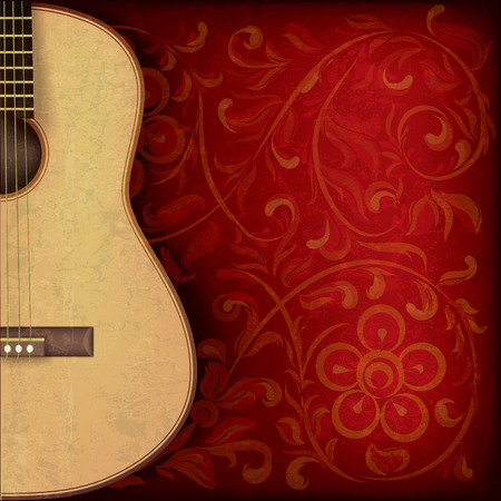 classical guitar: abstract grunge music background with guitar on red floral ornament