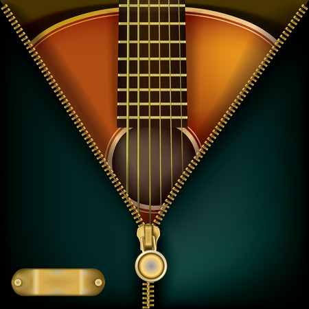 metal music: abstract music green background with guitar and open zipper