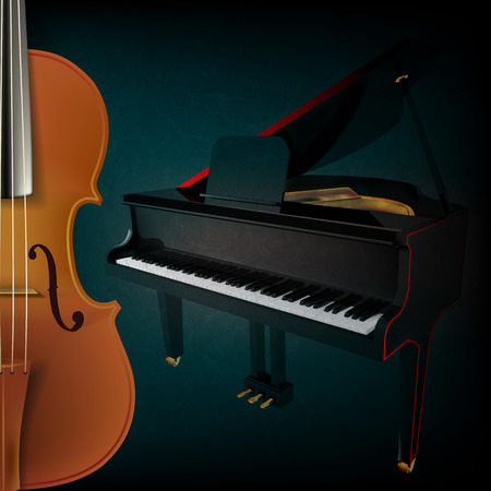 stringed: abstract music grunge dark background with violin and piano Illustration