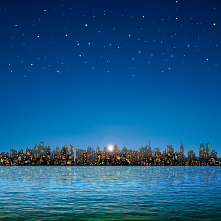 abstract nature background with panorama of city and stars sky Illustration