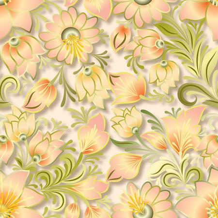 lighten: abstract vintage seamless lighten floral ornament on beige background Illustration