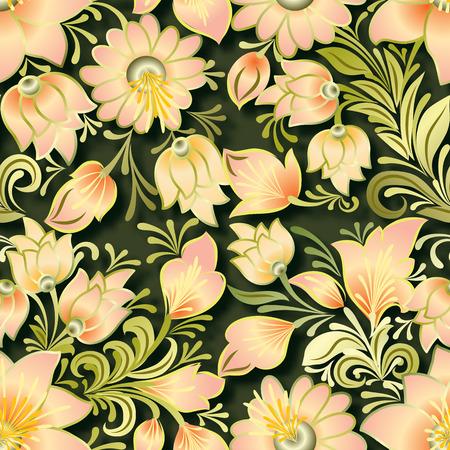 lighten: abstract vintage seamless lighten floral ornament on green background