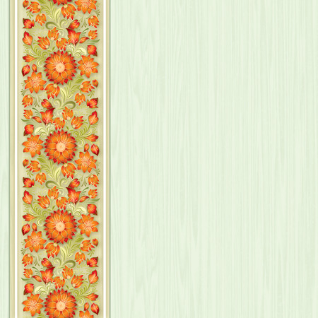 green seamless wallpaper with floral ornament on wooden background Vector