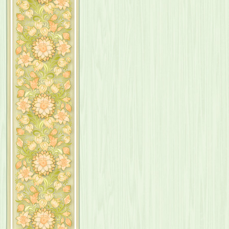 green wallpaper: green wallpaper with floral ornament on wooden background