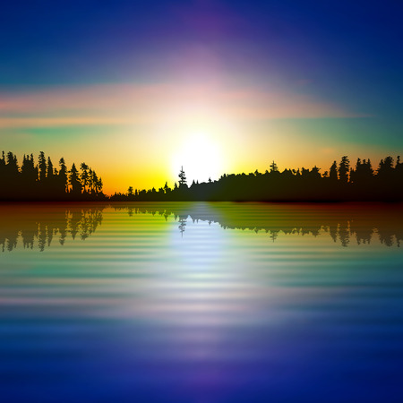 sunset lake: abstract nature spring background with forest lake and sunset